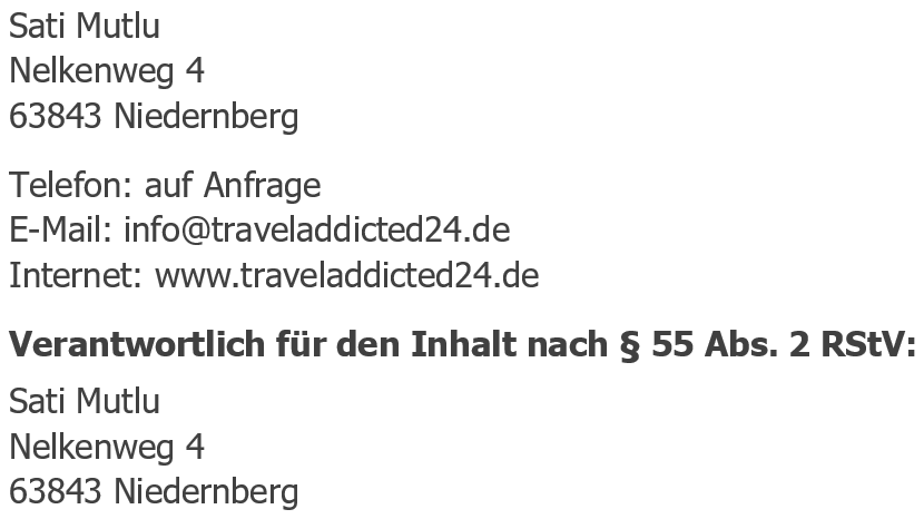Impressum traveöaddicted24.de